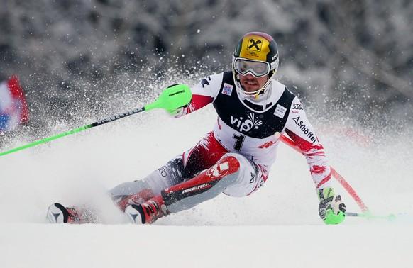 Austria's Marcel Hirscher competes during an alpine ski, men's World Cup slalom in Sljeme, Zagreb, Croatia, Tuesday, Jan. 6, 2015. (AP Photo/Giovanni Auletta)