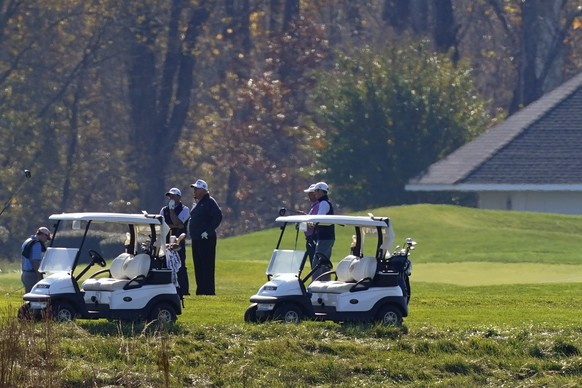 President Donald Trump participates in a round of golf at the Trump National Golf Course on Saturday, Nov. 7, 2020, in Sterling, Va. (AP Photo/Patrick Semansky) Donald Trump