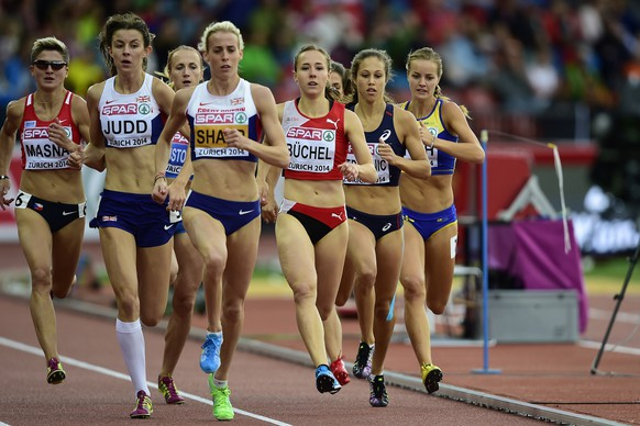 14.Aug.2014; Zuerich; Leichtathletik - EM Zuerich 2014;Jessica Judd (GBR) Lynsey Sharp (GBR) Selina Buechel (SUI) 800 Meter Halbfinal (Andy Mueller/freshfocus)