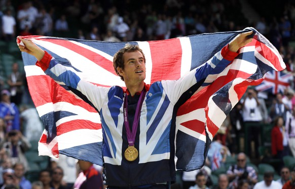 FILE - In this Sunday, Aug. 5, 2012 file photo, gold medalist Andy Murray of Great Britain waves the British flag during the medal ceremony of the men's singles event at the All England Lawn Tennis Club at Wimbledon, in London, at the 2012 Summer Olympics. Murray's future status, as well as that of Scottish Olympic athletes, rests on the result of next week's independence referendum in Scotland. Polls suggest the two sides are running neck-and-neck, presenting a real possibility that Scotland could break away after 307 years as part of the United Kingdom. If Scots vote ``yes'' on Sept. 18, the decision won't have much impact on football and rugby, as Scotland already fields its own teams in those sports. But it will affect Scotland's status in the Olympics and raise doubts over whether Scots can send a team to Rio. By then, Murray could be representing an independent Scotland. (AP Photo/Elise Amendola, file)
