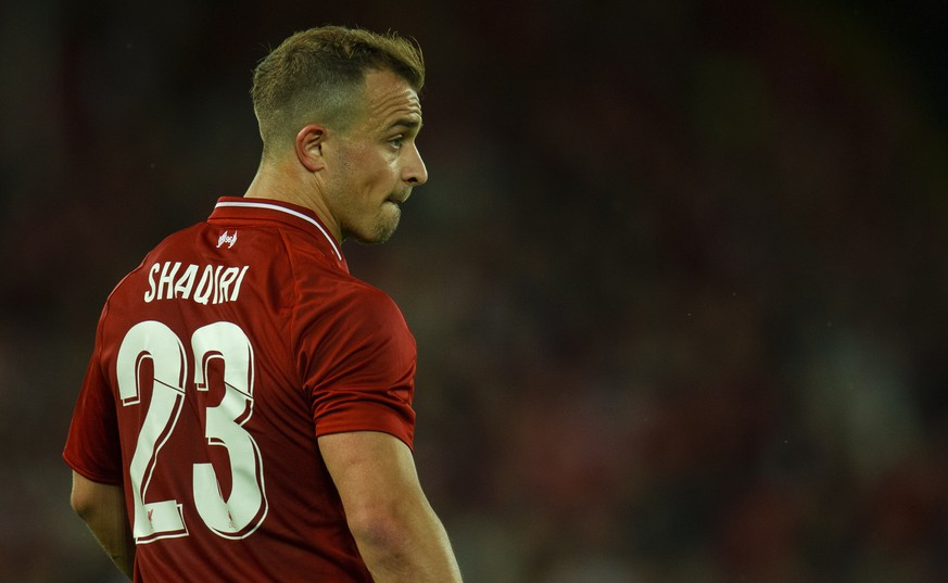 epa06934056 Liverpool's Xherdan Shaqiri during a friendly soccer match between Liverpool and Torino held at Anfield , Liverpool, Britain, 07 August 2018.  EPA/PETER POWELL