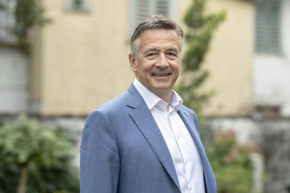 Der in stiller Wahl bereits gewaehlte Nidwaldner Staenderat Hans Wicki, FDP, posiert vor den bevorstehenden Nidwaldner Staenderats- und Nationalratswahlen am Samstag, 28. September 2019 in Stans. (KEYSTONE/Urs Flueeler)