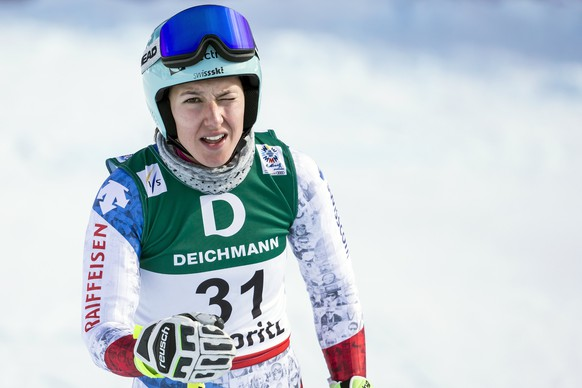 epa05780308 Wendy Holdener of Switzerland reacts in the finish area during the women's Downhill training at the 2017 FIS Alpine Skiing World Championships in St. Moritz, Switzerland, 09 February 2017.  EPA/ALEXANDRA WEY