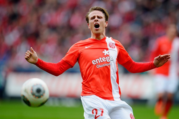 MAINZ, GERMANY - MARCH 22:  Nicolai Mueller of Mainz 05 reacts during the Bundesliga match between 1. FSV Mainz 05 and FC Bayern Muenchen at Coface Arena on March 22, 2014 in Mainz, Germany.  (Photo by Dennis Grombkowski/Bongarts/Getty Images)