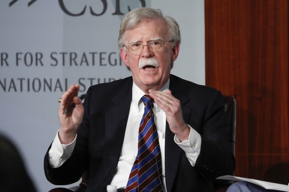 FILE - In this Sept. 30, 2019, file photo, former National security adviser John Bolton gestures while speakings at the Center for Strategic and International Studies in Washington.   A federal judge has ruled, Saturday, June 20, 2020, that former national security adviser John Bolton can move forward in publishing his tell-all book. The Trump administration had tried to block the release because of concerns that classified information could be exposed.(AP Photo/Pablo Martinez Monsivais, File) John Bolton