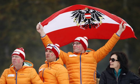 Feb 15, 2015; Beaver Creek, CO, USA; Fans of Austria cheer during run one of the  men's slalom in the FIS alpine skiing world championships at Birds of Prey Racecourse. Mandatory Credit: Jeff Swinger-USA TODAY Sports