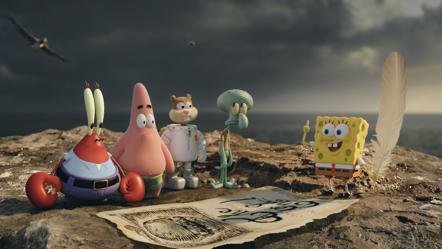 This image released by Paramount Pictures and Nickelodeon Movies shows characters, from left,  Mr. Krabs, Patrick Star, Sandy Cheeks, Squidward Tentacles, and SpongeBob SquarePants in a scene from