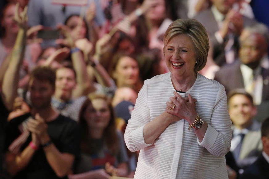 Democratic presidential candidate Hillary Clinton arrives at a presidential primary election night rally, Tuesday, June 7, 2016, in New York. (AP Photo/Julio Cortez)