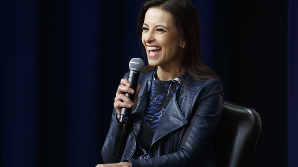 Dina Powell, Senior Counselor for Economic Initiatives, speaks during a town hall with business leaders in the South Court Auditorium on the White House complex in Washington, Tuesday, April 4, 2017. (AP Photo/Evan Vucci)