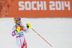 Marina Nigg of Liechtenstein reacts in the finish area during the first run of the women's alpine skiing slalom at the XXII Winter Olympics 2014 Sochi in Krasnaya Polyana, Russia, on Friday, February 21, 2014. (KEYSTONE/Jean-Christophe Bott)