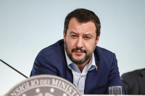 Italy's Interior Minister and Deputy-Premier Matteo Salvini speaks during a press conference on Italy's budget law, at Chigi Palace Premier officr, in Rome,Monday, Oct. 15, 2018. (Giuseppe Lami/ANSA via AP)