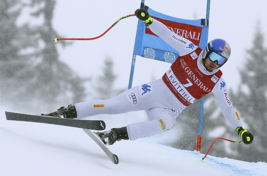 Italy's Dominik Paris competes in an alpine ski, men's World Cup Super G, in Kvitfjell, Norway, Sunday, March 3, 2019. (AP Photo/Alessandro Trovati)
