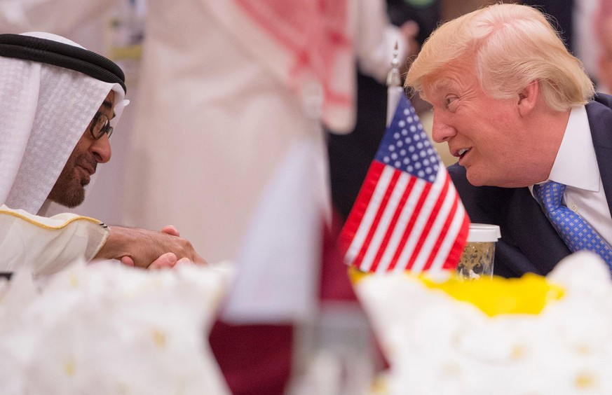 epa05979095 A handout photo made available by the Saudi Press Agency (SPA) shows Crown Prince of Abu Dhabi Mohammed Bin Zayed al-Nahyan talk to US President Donald J. Trump (L) during the opening session of the Gulf Cooperation Council summit (GCC), in Riyadh, Saudi Arabia, 21 May 2017. The GCC is attended by the leaders of Kuwait, Bahrain, Qatar, the Crown Prince of Abu Dhabi, deputy Prime Minister of Oman, and the US President.  EPA/SAUDI PRESS AGENCY HANDOUT  HANDOUT EDITORIAL USE ONLY/NO SALES