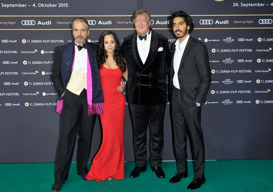 ZURICH, SWITZERLAND - SEPTEMBER 24:  (L-R)Actors Jeremy Irons, Devika Bhise, Stephen Fry and Dev Patel attend the 'The Man Who Knew Infinity' Premiere And Opening Ceremony during the Zurich Film Festival on September 24, 2015 in Zurich, Switzerland. The 11th Zurich Film Festival will take place from September 23 until October 4.  (Photo by Lennart Preiss/Getty Images)