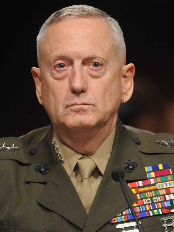 epa05736557 (FILE) - A file picture dated 27 July 2010 shows Marine Corps General James Mattis appearing before the Senate Armed Services Committee hearing on his nomination for Commander of the United States Central Command, on Capitol Hill in Washington DC, USA. The US Senate on 20 January 2017 has confirmed James N. Mattis as President Trump's defense secretary. The Retired US Marine Corps general Mattis' confirmation bypasses a law that dictates that any military official must wait seven years from leaving the service before serving as defense secretary, a civilian position.  EPA/MICHAEL REYNOLDS *** Local Caption *** 02263286