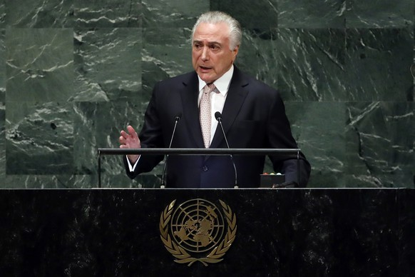 Brazil's President Michel Temer addresses the 73rd session of the United Nations General Assembly, at U.N. headquarters, Tuesday, Sept. 25, 2018. (AP Photo/Richard Drew)
