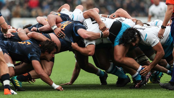 epa07826917 A view of the scrum during the rugby union match between Teros and  Argentina XV at the Charrua Stadium in Montevideo, Uruguay, 07 September 2019.  EPA/FEDERICO ANFITTI