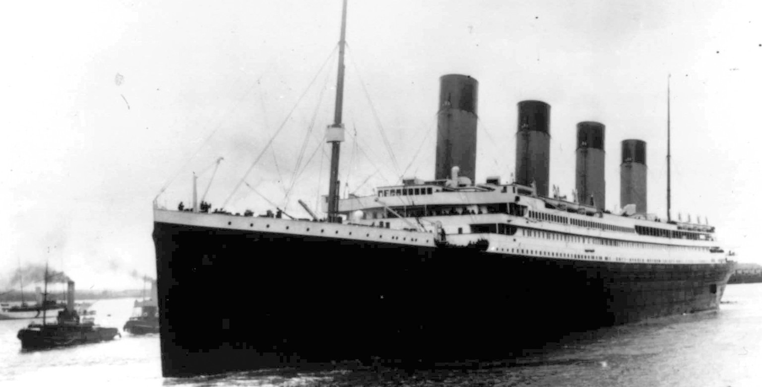 FILE - In this Wednesday, April 10, 1912 file photo, the British passenger liner Titanic leaves Southampton, England on her maiden voyage. During the ship's sinking in the North Atlantic Ocean in the early morning of April 15, 1912, after colliding with an iceberg, Seaman Robert John Hopkins was assigned to lifeboat 13. Hopkins and firefighter Fred Barrett were instrumental in cutting the lines to free boat 13 from being crushed by boat 15, which was being lowered onto it from above. (AP Photo)