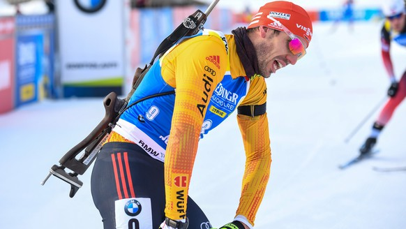 epa08294185 Arnd Peiffer of Germany in the finish area after the men 12.5km Pursuit competition of the IBU Biathlon World Cup in Kontiolahti, Finland, 14 March 2020  EPA/KIMMO BRANDT