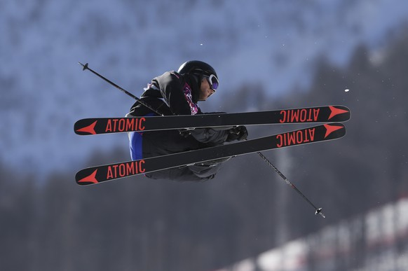 Norway's Andreas Haatveit takes a jump during ski slopestyle training at the Rosa Khutor Extreme Park ahead of the 2014 Winter Olympics, Friday, Feb. 7, 2014, in Krasnaya Polyana, Russia. (AP Photo/Sergei Grits)
