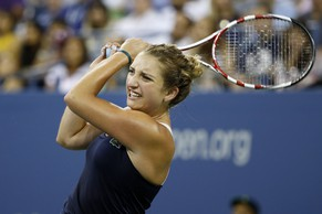 Timea Bacsinszky, of Switzerland, watches a return to Venus Williams, of the United States, during the second round of the U.S. Open tennis tournament Wednesday, Aug. 27, 2014, in New York. (AP Photo/Jason DeCrow)