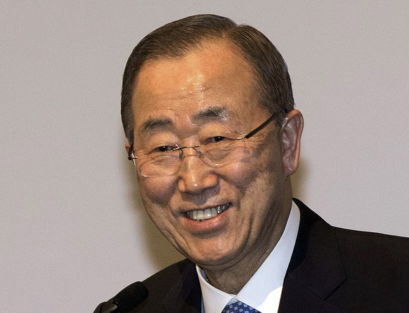 U.N. Secretary-General Ban Ki-moon smiles during the 'UN Global Compact - Korea Leaders Summit' event in Seoul, South Korea, Tuesday, May 19, 2015. Ban on Tuesday said that he will visit a factory park in North Korea that is the last major cooperation project between the rival Koreas. (Yun Dong-jin/Yonhap via AP) KOREA OUT