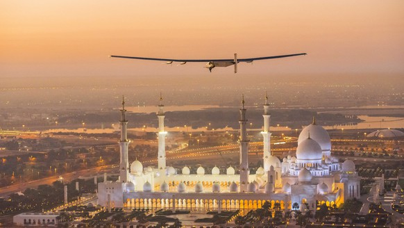 epa04638112 A handout photo made available by the Solar Impulse showing the Solar Impulse 2 during the first test flight in Abu Dhabi, UAE, 26 February 2015. Solar Impulse 2 successfully accomplished the first test flight since the reassembly with the test pilot Markus Scherdel at the controls. Solar Impulse 2, the only solar single-seater airplane able to fly day and night without a drop of fuel, will attempt the First Round-The-World Solar Flight in early March 2015, departing from Abu Dhabi. Swiss founders and pilots, Bertrand Piccard and Andre Borschberg, will take turns flying Solar Impulse 2 over the Arabian Sea, to India, Myanmar, China, then across the Pacific Ocean, to the United States, and over the Atlantic Ocean to Southern Europe or Northern Africa before finishing the journey by returning to the initial departure point.  EPA/OLGA STEFATOU / SOLAR IMPULSE/HAND  HANDOUT EDITORIAL USE ONLY/NO SALES