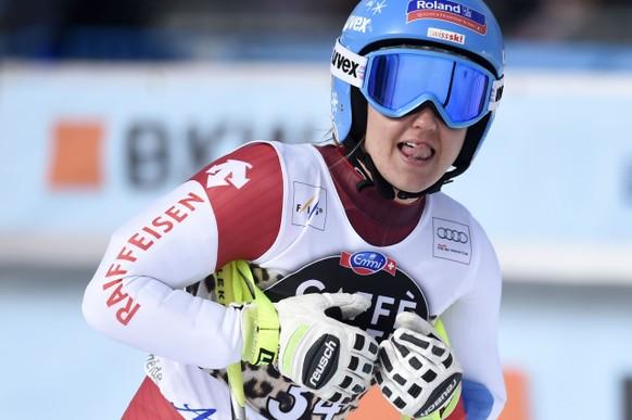 Joana Haehlen of Switzerland reacts in the finish area during the women's Super-G race of the FIS Alpine Ski World Cup in Lenzerheide, Switzerland, Saturday, March 12, 2016. (KEYSTONE/Gian Ehrenzeller)