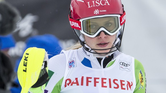 Ana Bucik of Slovenia reacts in the finish area during the women's Slalom of the Alpine combination race at the FIS Alpine Ski World Cup, in St. Moritz, Switzerland, Friday, December 8, 2017. (KEYSTONE/Alexandra Wey)