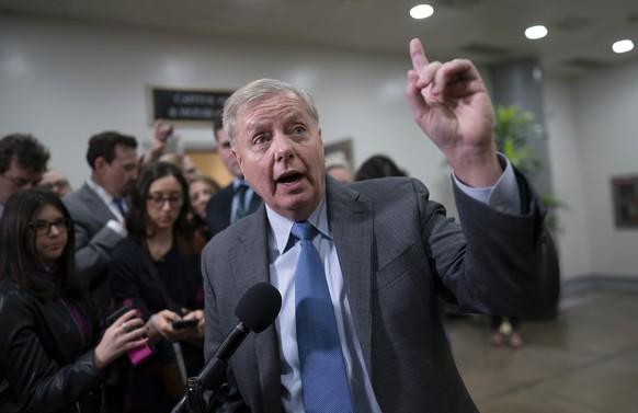 Senate Judiciary Committee Chairman Lindsey Graham, R-S.C., speaks to reporters on capitol Hill in Washington, Friday, Jan. 24, 2020. (AP Photo/J. Scott Applewhite) Lindsey Graham