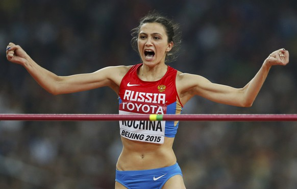 Maria Kuchina of Russia reacts during the women's high jump final at the 15th IAAF World Championships at the National Stadium in Beijing, China, August 29, 2015.         REUTERS/Kim Kyung-Hoon