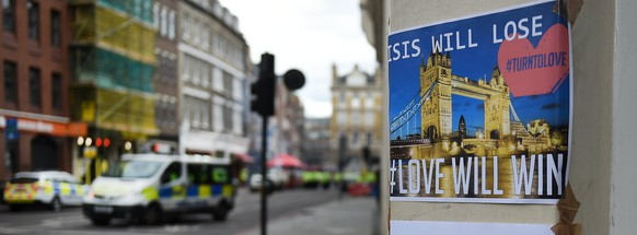 epa06010488 An anti ISIS poster seen near Borough Market, in the aftermath of multiple 03 June attacks, London, Britain, 04 June 2017. At least seven members of the public were killed and dozens injured after three attackers on late 03 June plowed a van into pedestrians and later randomly stabbed people on London Bridge and nearby Borough Market. The three attackers wearing fake suicide vests were shot dead by police who are treating the attack as a 'terrorist incident.'  EPA/ANDY RAIN