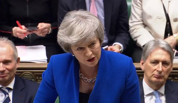 epa07289407 A handout video-grabbed still image from a video made available by UK parliament's parliamentary recording unit showing British  Prime Minister Theresa May during a Prime Ministers Questions (PMQs) in London, Britain, 16 January 2019. Britain's Prime Minister May is facing a confidence vote in parliament after she lost the The Meaningful Vote parliamentary vote on the EU withdrawal agreement on 15 January.  EPA/PARLIAMENTARY RECORDING UNIT HANDOUT MANDATORY CREDIT: PARLIAMENTARY RECORDING UNIT HANDOUT EDITORIAL USE ONLY/NO SALES HANDOUT EDITORIAL USE ONLY/NO SALES