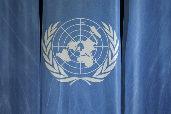 The UN logo is pictured prior a press conference of UNCTAD in the room 1, at the European headquarters of the United Nations in Geneva, Switzerland, Friday, January 18, 2019. (KEYSTONE/Salvatore Di Nolfi)