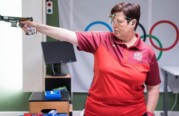 Heidi Diethelm Gerber, Pistole 10m und 25m am Swiss Shooting Olympia Team Medientreff, am Freitag, 2. Juli 2021 in Luterbach. (KEYSTONE/Manuel Lopez)