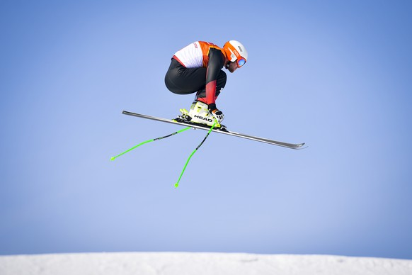 Marc Bischofberger of Switzerland in action during the Men Freestyle Skiing Ski Cross Seeding Round in the Phoenix Snow Park during the XXIII Winter Olympics 2018 in Pyeongchang, South Korea, on Wednesday, February 21, 2018. (KEYSTONE/Gian Ehrenzeller)
