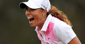 GOLD COAST, AUSTRALIA - FEBRUARY 09:  Cheyenne Woods of the United States celebrates winning the 2014 Ladies Masters at Royal Pines Resort on February 9, 2014 on the Gold Coast, Australia.  (Photo by Matt Roberts/Getty Images)