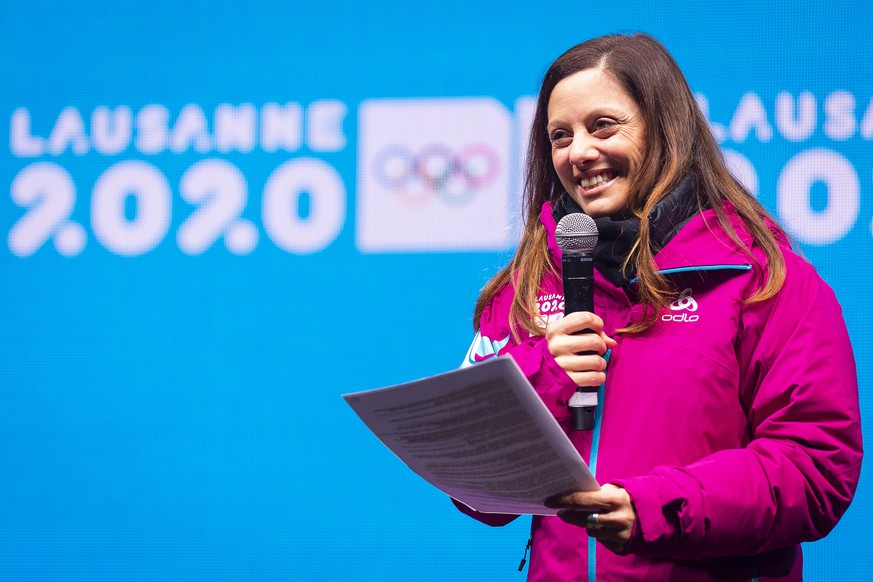 epa08152112 Swiss Virginie Faivre, president of the Organizing Committee of the Lausanne 2020 Winter Youth Games, delivers a speech during the closing ceremony of the Lausanne 2020 Winter Youth Olympic Games in Lausanne, Switzerland, 22 January 2020.  EPA/GABRIEL MONNET