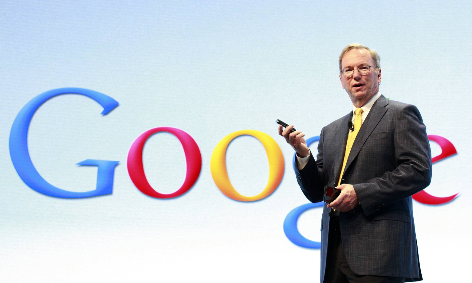 Google Chairman Eric Schmidt speaks at a Motorola phone launch event in New York, in this file photo taken September 5, 2012.  European regulators are preparing what could be a stern challenge to Google Inc's mobile software business in the coming months after a nearly four-year investigation into the company's Web search practices left rivals and European politicians dissatisfied.  REUTERS/Brendan McDermid/Files (UNITED STATES - Tags: BUSINESS TELECOMS SCIENCE TECHNOLOGY)