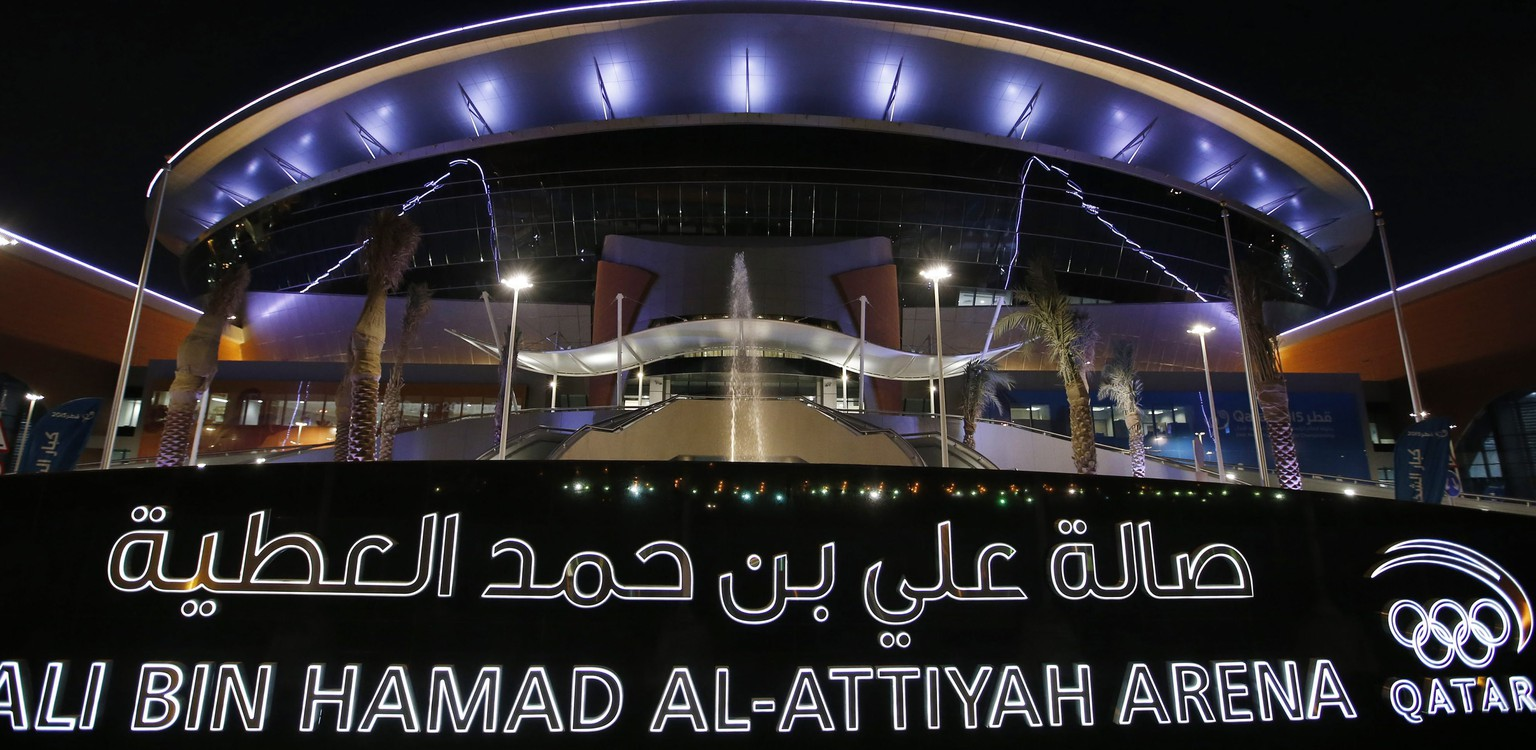 epa04559817 Exterior view of the Ali Bin Hamad Al Attiya Arena at Al Saad Club in Doha, Qatar on 14 January 2015. The Qatar 2015 men's Handball World Championship 2015 takes place in Qatar from 15 January to 01 February.  Qatar 2015 via epa/ALI HAIDER Editorial Use only/No Commercial sales