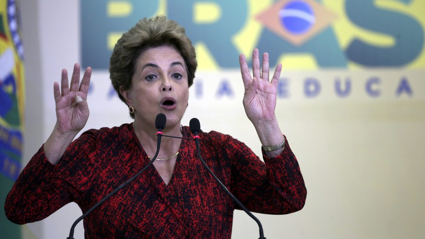epa05296846 Brazilian President Dilma Rousseff gives a speech during a meeting with students and educators at the Planalto Palace, in Brasilia, Brazilia, 09 May 2016. Acting President of the Brazil's lower chamber of deputies, Waldir Maranhao, annulled the process in the Lower House of Chamber of Deputies that has sent to the Senate the impeachment of Brazilian President, Dilma Rousseff, according to official sources. Maranhao's decision, which relies on alleged irregularities in the procedure followed in the Lower House and whose legal consequences are not yet clear, was adopted at a time when the Senate is preparing to vote Rousseff's impeachement which could take her out of power for at least six months.  EPA/Fernando Bizerra Jr.