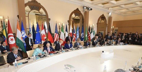 epa05992563 A general view of the G7 Summit expanded session in Taormina, Italy, 27 May 2017.  The second day is scheduled to deal with Innovationand Development in Africa, Global Issues such as Human Mobility, Food Security and Gender Equality as well as the G7 Global Relations,  the Italian G7 Presidency said in a media release. Heads of States and of Governments of the G7, the group of most industrialized economies, plus the European Union, meet in Taormina, Italy, from 26 to 27 May 2017 for a summit titled 'Building the Foundations of Renewed Trust'.  EPA/FLAVIO LO SCALZO
