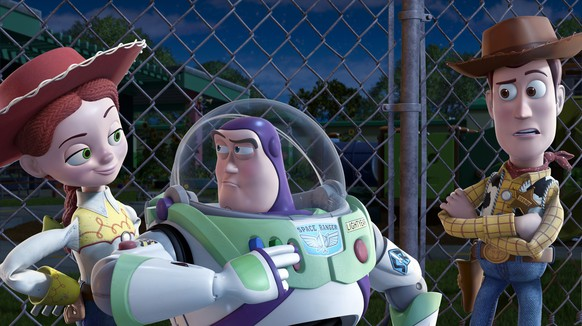 In this undated film publicity image released by Disney, from left, Jessie, voiced by Joan Cusack, Buzz Lightyear, voiced by Tim Allen and Woody, voiced by Tom Hanks are shown in a scene from,