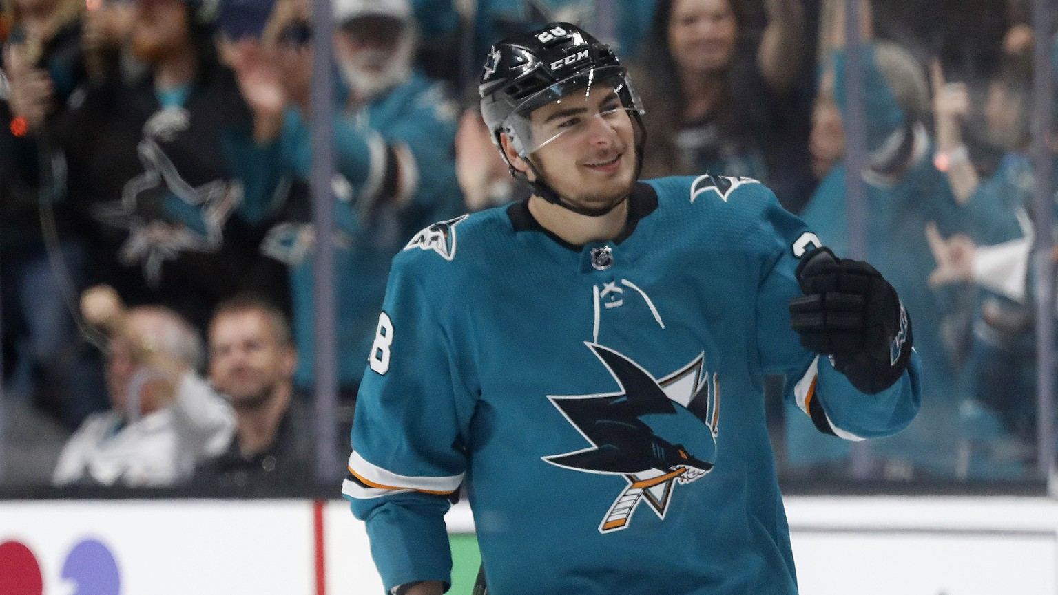 San Jose Sharks' Timo Meier celebrates a goal against the St. Louis Blues in the second period in Game 1 of the NHL hockey Stanley Cup Western Conference finals in San Jose, Calif., Saturday, May 11, 2019. (AP Photo/Josie Lepe)