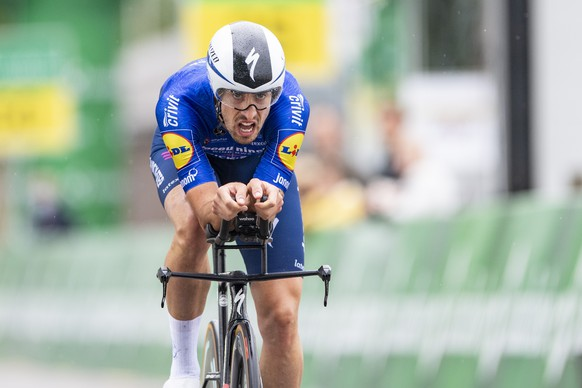 Mattia Cattaneo from Italy of Deceunick-Quick-Step competes during the first stage, a 10.9 km time trial, of the 84th Tour de Suisse UCI ProTour cycling race, in Frauenfeld, Switzerland, June 6, 2021. (Urs Flueeler/Keystone via AP)