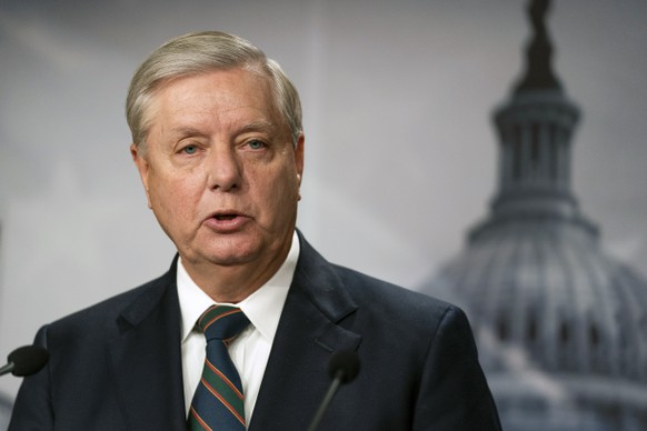 Sen. Lindsey Graham, R-S.C., speaks to reporters during a news conference at the Capitol, Thursday, Jan. 7, 2021, in Washington. Graham said Thursday that the president must accept his own role in the violence that occurred at the U.S. Capitol. (AP Photo/Manuel Balce Ceneta) Lindsey Graham