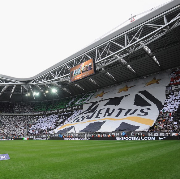TURIN, ITALY - MAY 13:  Juventus FC fans display a giant banner during the Serie A match between Juventus FC and Atalanta BC at Juventus Stadium on May 13, 2012 in Turin, Italy.  (Photo by Valerio Pennicino/Getty Images)