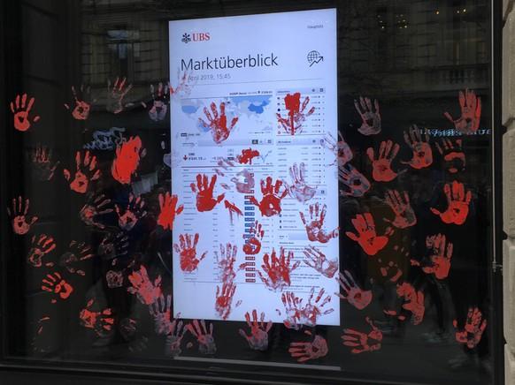 Klimademo Zürich, 6.4.2019, Protest gegen UBS