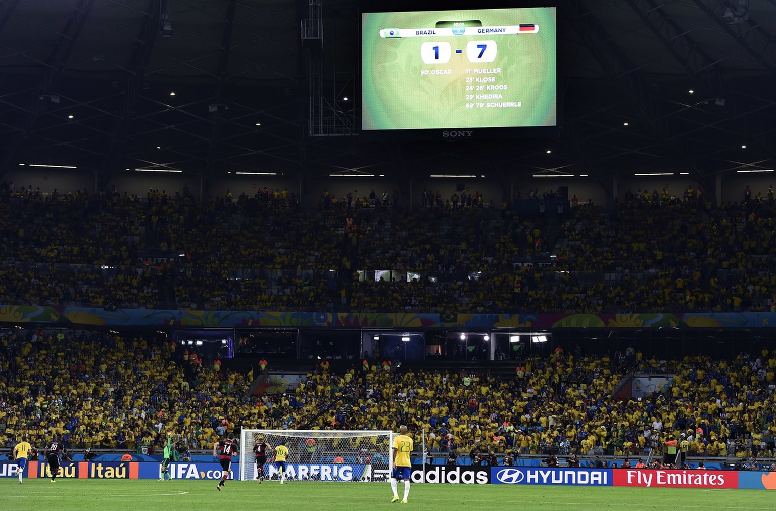 The scoreboard shows the final score at 7-1 during the World Cup semifinal soccer match between Brazil and Germany at the Mineirao Stadium in Belo Horizonte, Brazil, Tuesday, July 8, 2014. (AP Photo/Martin Meissner)