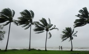PORT DOUGLAS, AUSTRALIA - APRIL 12:  Tourists are seen standing in high winds amongst palm trees on April 12, 2014 in Port Douglas, Australia The cyclone crossed the coast of Cooktown overnight with winds reaching nearly 300 km/h and was downgraded from a category five to category one.  (Photo by Ian Hitchcock/Getty Images)